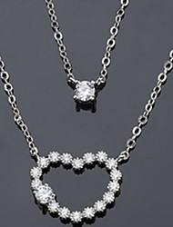 Women's Layered Necklaces Alloy Heart Jewelry Heart Double-layer Classic Silver Jewelry Casual 1pc