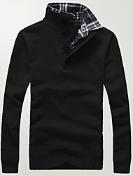 Men's Going out Casual/Daily Plus Size Simple Active Regular Pullover,Solid Black Gray Stand Long Sleeve Cotton Acrylic PolyesterSpring