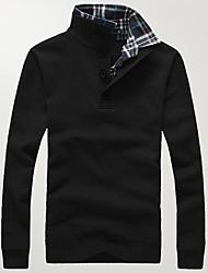 Для мужчин На выход На каждый день Большие размеры Простое Активный Обычный Пуловер Однотонный,Черный Серый Воротник-стойка Длинный рукав