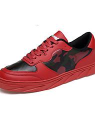 Herren-Sportschuhe-Lässig-PU-Flacher Absatz-Komfort-Blau Rot Weiß