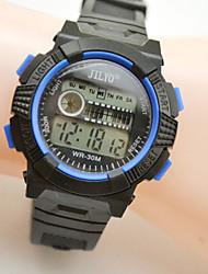 Дети Спортивные часы электронные часы Кварцевый Цифровой Календарь Фосфоресцирующий Кожа Группа Черный