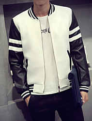 Men's Long Sleeve Casual Jacket,PU Solid Black / White