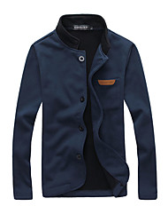 Men's Casual/Daily Simple Jackets,Solid Round Neck Long Sleeve Winter Blue Black Gray Polyester Medium