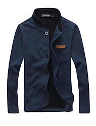 Herren Solide Einfach Lässig/Alltäglich Jacke,Winter Rundhalsausschnitt Langarm Blau Schwarz Grau Mittel Polyester