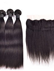 Brazilian Virgin Hair Silk Straight 3 Bundles Unprocessed Human Hair Weave with 1 Pcs 134 Ear To Ear Lace Frontal Closure