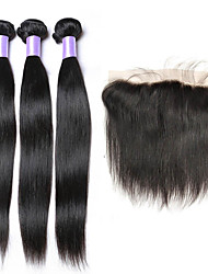 3 Bundles Indian Virgin Hair Silk Straight With 13*4 Lace Frontal Closure Unprocessed Human Hair Weave with Baby Hair