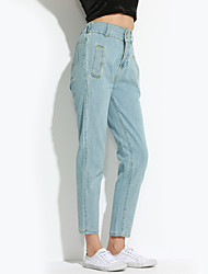 Women's Jeans Pants,Casual/Daily Simple Solid Mid Rise Button / Zipper Polyester Micro-elastic Summer