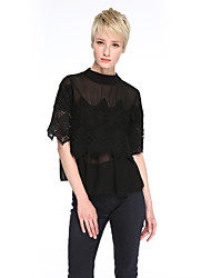 Women's Patchwork White / Black Shirt,Round Neck ½ Length Sleeve