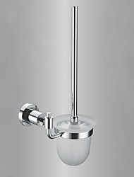 Contemporary Brass Glass  Bathroom Toilet Brush Holder - Silver