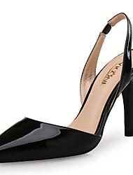 Damen-Sandalen-Outddor Büro Kleid Lässig Party & Festivität-Lackleder-Stöckelabsatz-Komfort-Schwarz Weiß Mandelfarben