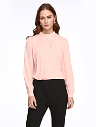 Women's Pure Color Stand Collar Long Sleeve All Match Shirt