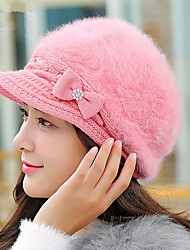 Women Winter Rabbit Fur Autumn And Winter Fashion Duck Tongue Beret Warm Knitted Wool Cap