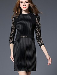 Women's Formal Party Sophisticated Lace Little Black Dress,Striped Lace Stand Above Knee ¾ Sleeve Cotton Black Spring Mid Rise