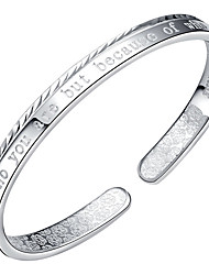 Feminino Bracelete Prata de Lei Moda Formato de Letras Prata Jóias 1peça