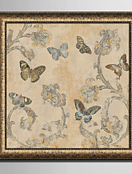 E-HOME® Framed Canvas Art Retro Flowers And Butterflies Framed Canvas Print One Pcs