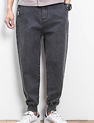 Men's Plus Size Straight Jeans Chinos Pants,Party/Cocktail Vintage Solid Sequins Mid Rise Zipper Linen Micro-elastic Spring