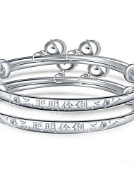 Bracelet Bangles Sterling Silver Alphabet Shape Inspirational Birthday Gift Jewelry Gift Silver,1 pair