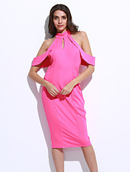 Women's Cute Cold Shoulder Cutout Halter Midi Dress