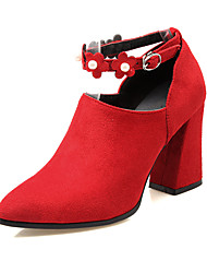 Women's Heels Spring Summer Fall Other PU Casual Chunky Heel Pearl Buckle Flower Black Red Almond