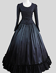 Outfits Gothic Lolita Victorian Cosplay Lolita Dress Solid Long Sleeve Ankle-length Top Skirt Petticoat For Cotton