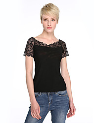 Damen T-Shirt - Spitze Kunstseide Kurzarm V-Ausschnitt