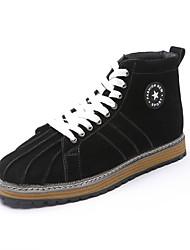 Men's Boots Winter Comfort Fabric Casual Flat Heel Lace-up Black Light Brown Walking