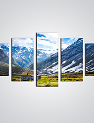 Unframed Sunrise Snow Mountain Modern Wall Art  Seascape Painting  for  Home Decoration (Total size 100cm L x50cm H  by 5pcs)