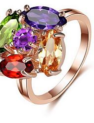Anéis Diário Casual Jóias Liga Zircão Feminino Anel 1peça,6 7 8 Ouro Rose