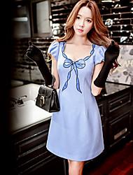 Mujer Línea A Vaina Camiseta Vestido Noche Casual/Diario Vacaciones Bonito Chic de Calle Sofisticado,Un Color Estampado Escote Redondo