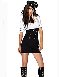 Cosplay Costumes Party Costume Police Sailor/Navy Career Costumes Movie Cosplay White Solid Dress Hat Tie Halloween Carnival Female
