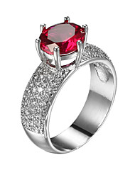 Classic Design Ruby round Zircon Women jewelry Rings Romantic Female Gift Platinum Plating Lady Ring