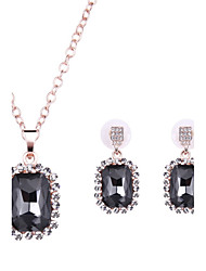 Jewelry Set Crystal Gemstone Crystal Alloy Black Wedding Party Daily Casual 1set 1 Pair of Earrings Necklaces Wedding Gifts