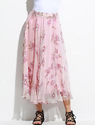Women's Floral Pink Skirts,Boho Maxi
