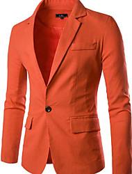 Polyester Normal Langermet,Skjortekrage Blazer Ensfarget Vår Sommer Enkel Gatemote Ut på byen Herre