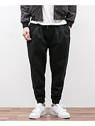 Masculino Tamanhos Grandes Solto Jeans Chinos Calças-Cor Única Poás Casual Vintage Pregueado Cintura Média Zíper Algodão Micro-Elástico