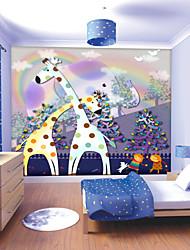 JAMMORY Art DecoWallpaper For Home Wall Covering Canvas Adhesive required Mural Children's Room Cartoon Giraffe XL XXL XXXL