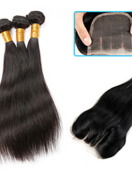 Natural Color Human Hair Weaves Brazilian Virgin Hair Straight with Lace Closure Middle/Three/Free Part 4 Pieces
