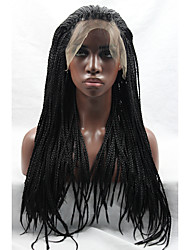 Long Black Wig Micro Braided Glueless Lace Front Wigs Heat Friendly Synthetic Wigs