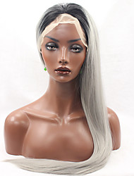 Heat Resistant Lace Front Wig Long Straight Hair Black Root Grey Color Synthetic Hair Fiber Wigs With Adjustable Strap