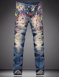 Hommes Droite Jeans Pantalon,Vintage Décontracté / Quotidien Couleur Pleine Imprimé Taille Basse fermeture Éclair Viscose Micro-élastique