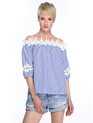 Women's Casual/Daily Street chic Summer Blouse,Striped Boat Neck ¾ Sleeve Blue Acrylic Medium