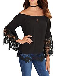 Women's Black Off-The-Shoulder Lace Trim Blouse