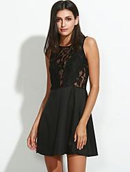 Women's Lace Sexy Lace Cute Plus Sizes Inelastic Sleeveless Above Knee Dress (Chiffon/Lace)