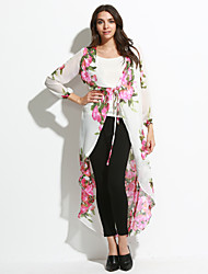 Women's Boho Going out Boho Swing Dress,Floral Deep V Maxi Long Sleeve White Polyester Summer