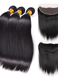 3 Bundles Indian Virgin Hair Weft Silk Straight With 1Pcs Free Part 13x4 Lace Frontal Closure Natural Black Hair Extensions