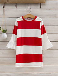 Spring Autumn 7 Minutes Of Sleeve Stripe Cotton Dresses Of The Girls