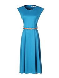 Damen Skater Kleid-Lässig/Alltäglich Einfach Solide Rundhalsausschnitt Midi Ärmellos Blau Schwarz Baumwolle Sommer Mittlere Hüfthöhe