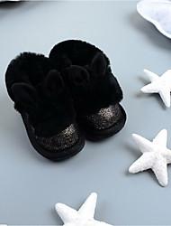 Kids' Boots Winter PU Outdoor Casual Flat Heel White Black Blushing Pink