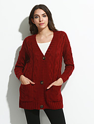 Women's Going out / Casual/Daily Sexy / Simple / Street chic Regular CardiganSolid Blue / Red / Brown / Green