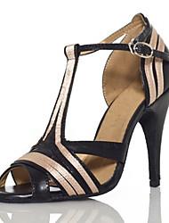 Women's Sandals Summer Other Leatherette Dress Stiletto Heel Buckle Hollow-out Split Joint Light Pink Black/White Fitness & Cross Training